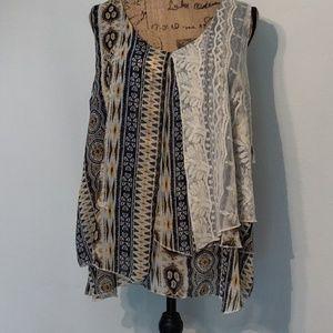 NWT semi sheer layered sleeveless blouse.